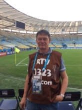 Graham Wellham pitchside at the Maracana, location of the FIFA 2014 World Cup final. Image: Graham Wellham
