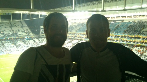 Signing off: Me and Martin in the Corinthians Arena, Sao Paulo. Source: Alec Herron